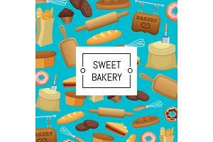 Vector cartoon bakery elements set