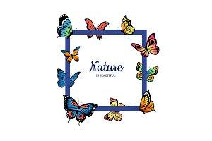 Vector decorative butterflies flying