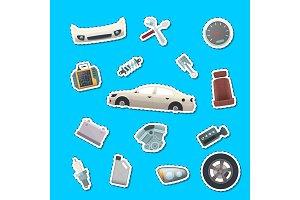 Vector car parts stickers of set