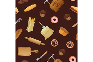 Vector cartoon bakery pattern or