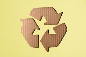Top view of cardboard recycle sign o