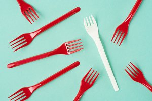 Top view of disposable plastic forks