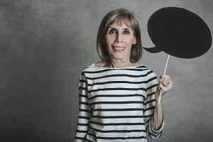 senior woman with speech bubble