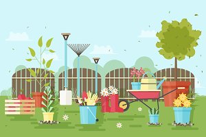 Illustration with garden tools
