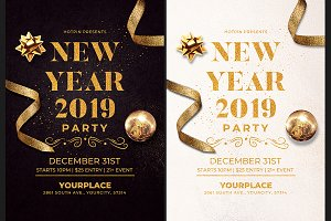 classy new year invitation flyer