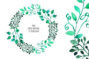 Watercolor Wreath & Green Leaves