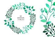 Watercolor Wreath & Green Leaves