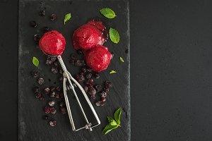 Scoops of berry sorbet