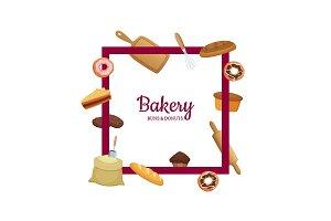 Vector cartoon bakery frame with