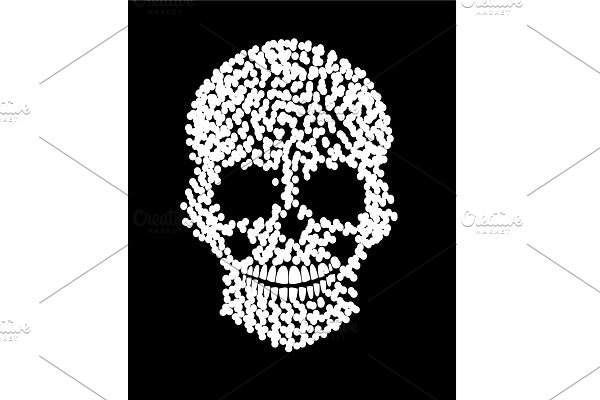 Skull icon with dots white colors