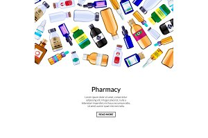 Vector pharmacy medicine bottles and