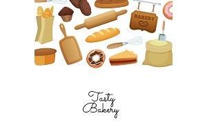 Vector cartoon bakery background