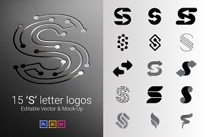 15 S Letter Logos - Vector & Mock-Up