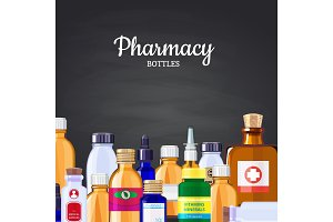 Vector pharmacy medicine bottles