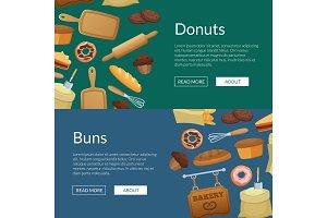 Vector cartoon bakery web banner