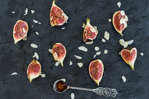 Fig pieces with almond petals