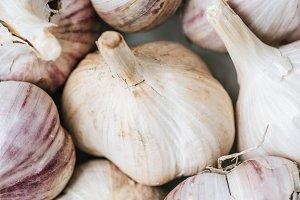 close up of ripe garlic heads in whi