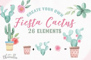 Cactus Fiesta Creator Pot Watercolor