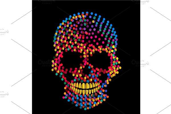 Vivid colors skull icon, artistic