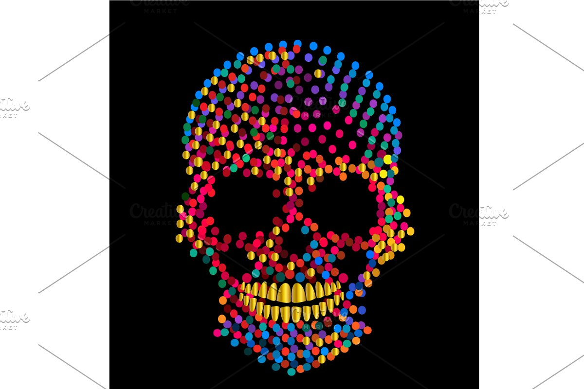 Vivid colors skull icon, artistic  in Graphics - product preview 8