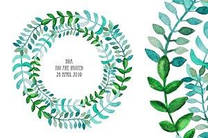 Watercolor Wreath & Green Leaves(1)