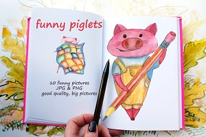 funny piglets, watercolor cartoons