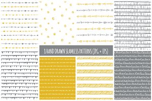 8 Hand Drawn Seamless Patterns