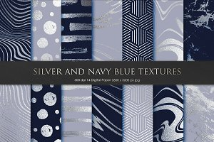 Silver and Navy Blue Marble Textures