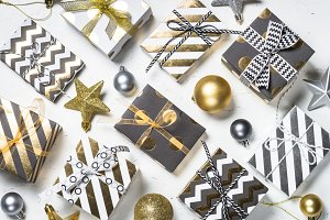 Christmas background with Gold and