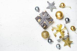 Black, silver and Gold present box