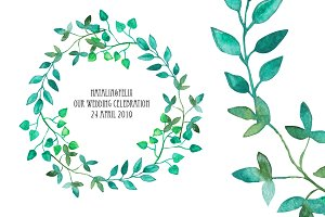 Watercolor Wreath & Green Leaves(3)
