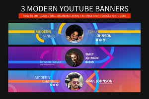 3 modern youtube banners