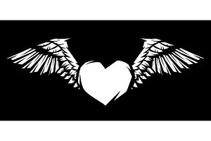 Heart with wings for tattoo design