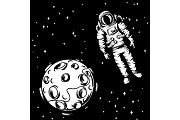 Illustration of astronaut with moon.