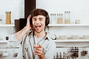 happy man in headphones