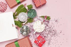 White gift bag and Christmas balls