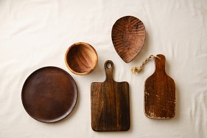 Various wooden tableware