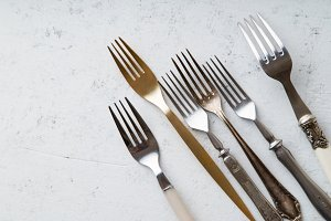 Various vintage forks