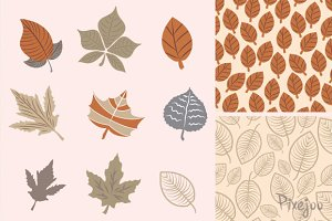 Leafs Clipart with Seamless Patterns