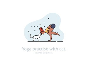 Yoga practise & cat illustration set
