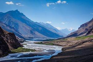 Spiti river in Himalayas
