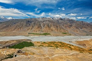 Aerial view of Spiti valley and Key