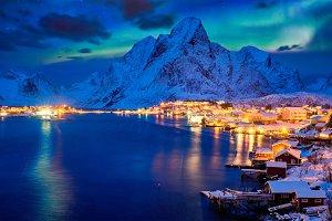 Reine village at night. Lofoten
