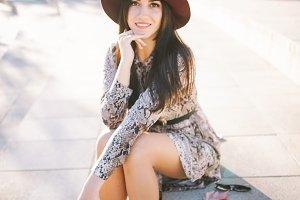 autumn portrait of brunette