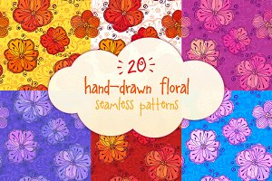 20 vector floral seamless patterns