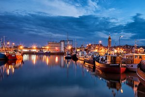 Port in Wladyslawowo Town at Night