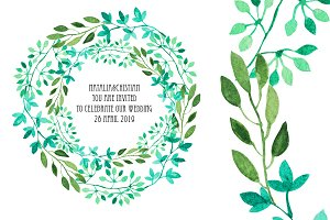 Watercolor Wreath & Green Leaves(4)