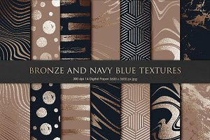 Bronze and Navy Blue Marble Textures