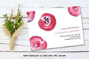 Watercolor Summer Party Invitatation