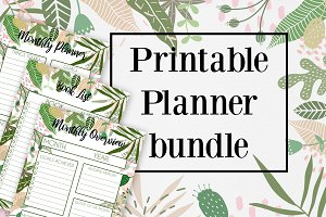 Tropical Printable Planner bundle A4